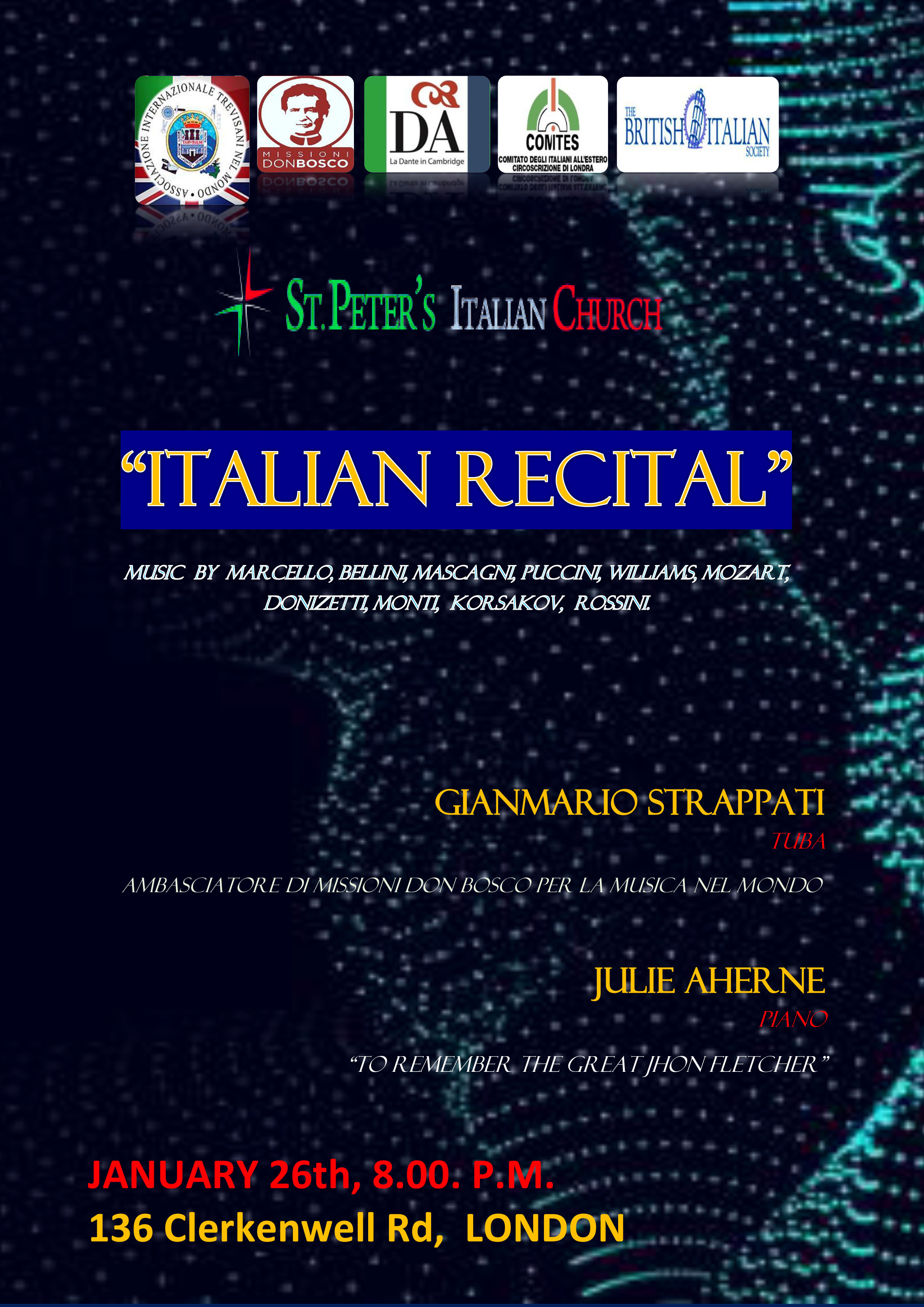 Italian Recital-St Peter's Church Clerkenwell, 26 January 2019 at 8pm